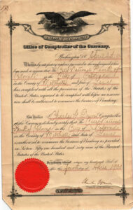 authorization to commence the business of banking from the office of the comptroller of the currency dated april 4 1900